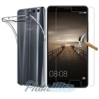 Coque Housse Etui Ultra Slim TPU Transparent + Film Protection Verre Trempe pour Huawei Honor 9