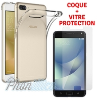 Coque Housse Etui Ultra Slim TPU Transparent + Film Protection Verre Trempe pour Asus Zenfone 4 MAX ZC520KL