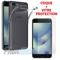 Coque Housse Etui Ultra Slim TPU Transparent + Film Protection Verre Trempe pour Asus Zenfone 4 MAX PLUS / PRO ZC554KL