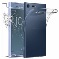 Coque Housse Etui Ultra Slim TPU Transparent + Film Protection Verre Trempe pour Sony Xperia XZ1 Compact