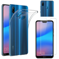 Coque Housse Etui Ultra Slim TPU Transparent + Film Protection Verre Trempe pour Huawei P20 LITE