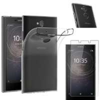 Coque Housse Etui Ultra Slim TPU Transparent + Film Protection Verre Trempe pour Sony Xperia L2