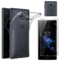 Coque Housse Etui Ultra Slim TPU Transparent + Film Protection Verre Trempe pour Sony Xperia XZ2 Compact