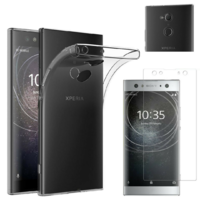Coque Housse Etui Ultra Slim TPU Transparent + Film Protection Verre Trempe pour Sony Xperia XA2 Ultra
