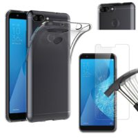Coque Housse Etui Ultra Slim TPU Transparent + Film Protection Verre Trempe pour Asus Zenfone MAX PLUS M1 ZB570TL
