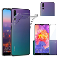 Coque Housse Etui Ultra Slim TPU Transparent + Film Protection Verre Trempe pour Huawei P20 PRO