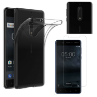 Coque Housse Etui Ultra Slim TPU Transparent + Film Protection Verre Trempe pour Nokia 5