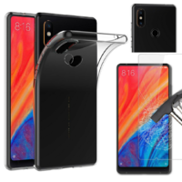 Coque Housse Etui Ultra Slim TPU Transparent + Film Protection Verre Trempe pour Xiaomi MI MIX 2S