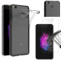 Coque Housse Etui Ultra Slim TPU Transparent + Film Protection Verre Trempe pour Xiaomi REDMI 4X
