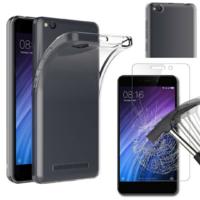 Coque Housse Etui Ultra Slim TPU Transparent + Film Protection Verre Trempe pour Xiaomi REDMI 4A