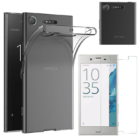 Coque Housse Etui Ultra Slim TPU Transparent + Film Protection Verre Trempe pour Sony Xperia XZ1