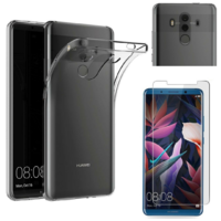 Coque Housse Etui Ultra Slim TPU Transparent + Film Protection Verre Trempe pour Huawei Mate 10 PRO