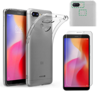 Coque Housse Etui Ultra Slim TPU Transparent + Film Protection Verre Trempe pour Xiaomi REDMI 6