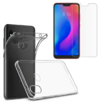 Coque Housse Etui Ultra Slim TPU Transparent + Film Protection Verre Trempe pour Xiaomi Mi A2 LITE