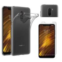 Coque Housse Etui Ultra Slim TPU Transparent + Film Protection Verre Trempe pour Xiaomi POCOPHONE F1