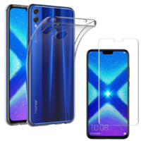 Coque Housse Etui Ultra Slim TPU Transparent + Film Protection Verre Trempe pour Huawei HONOR 8X