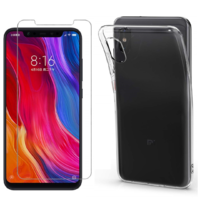 Coque Housse Etui Ultra Slim TPU Transparent + Film Protection Verre Trempe pour Xiaomi MI 8 PRO
