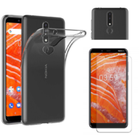 Coque Housse Etui Ultra Slim TPU Transparent + Film Protection Verre Trempe pour Nokia 3.1 PLUS