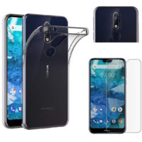 Coque Housse Etui Ultra Slim TPU Transparent + Film Protection Verre Trempe pour Nokia 7.1