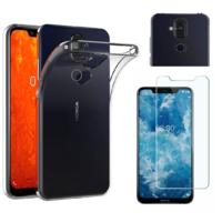 Coque Housse Etui Ultra Slim TPU Transparent + Film Protection Verre Trempe pour Nokia 8.1