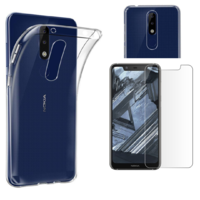 Coque Housse Etui Ultra Slim TPU Transparent + Film Protection Verre Trempe pour Nokia 5.1 PLUS
