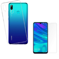 Coque Housse Etui Ultra Slim TPU Transparent + Film Protection Verre Trempe pour Huawei P SMART 2019
