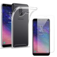 Coque Housse Etui Ultra Slim TPU Transparent + Film Protection Verre Trempe Intégral pour Samsung Galaxy A6 PLUS 2018