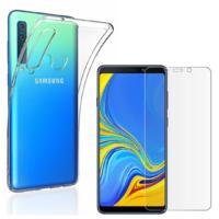 Coque Housse Etui Ultra Slim TPU Transparent + Film Protection Verre Trempe Intégral pour Samsung Galaxy A9 2018