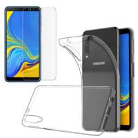 Coque Housse Etui Ultra Slim TPU Transparent + Film Protection Verre Trempe Intégral pour Samsung Galaxy A7 2018