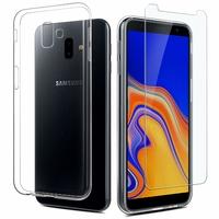 Coque Housse Etui Ultra Slim TPU Transparent + Film Protection Verre Trempe Intégral pour Samsung Galaxy J6 PLUS 2018