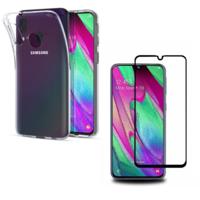 Coque Housse Etui Ultra Slim TPU Transparent + Film Protection Verre Trempe Intégral aux bord Noir pour Samsung Galaxy A40
