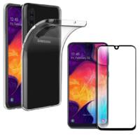 Coque Ultra Slim TPU Transparent + Verre Trempe bord Noir pour Samsung Galaxy A50