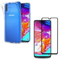 Coque Ultra Slim TPU Transparent + Verre Trempé bord Noir pour Samsung Galaxy A70