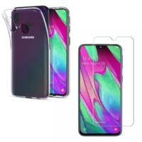Coque Housse Etui Ultra Slim TPU Transparent + Film Protection Verre Trempe Intégral pour Samsung Galaxy A40