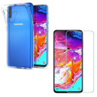 Coque Ultra Slim TPU Transparent + Verre Trempe pour Samsung Galaxy A70