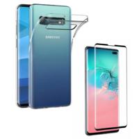 Coque Housse Etui Ultra Slim TPU Transparent + Film Protection Verre Trempe Intégral aux bord Noir pour Samsung Galaxy S10 PLUS