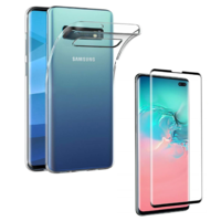 Coque Ultra Slim TPU Transparent + Verre Trempe bord Noir pour Samsung Galaxy S10 PLUS