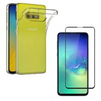 Coque Housse Etui Ultra Slim TPU Transparent + Film Protection Verre Trempe Intégral aux bord Noir pour Samsung Galaxy S10 E