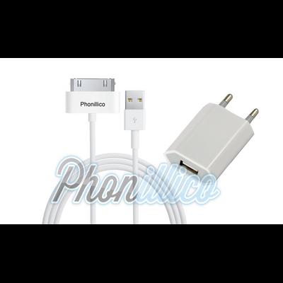 chargeur secteur cable usb pour apple iphone 4 4s. Black Bedroom Furniture Sets. Home Design Ideas