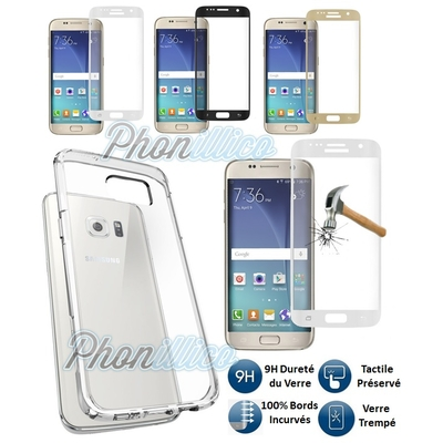 Coque Housse Etui Ultra Slim TPU Transparent + Film Protection Verre Trempe 100% Incurve Integral pour Samsung Galaxy S7 Edge