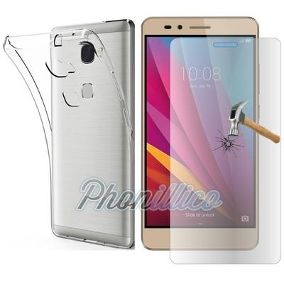 Coque Housse Etui Ultra Slim TPU Transparent + Film Protection Verre Trempe pour Huawei Honor 5X
