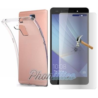 Coque Housse Etui Ultra Slim TPU Transparent + Film Protection Verre Trempe pour Huawei Honor 7