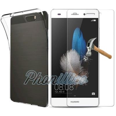 Coque Housse Etui Ultra Slim TPU Transparent + Film Protection Verre Trempe pour Huawei P8 LITE