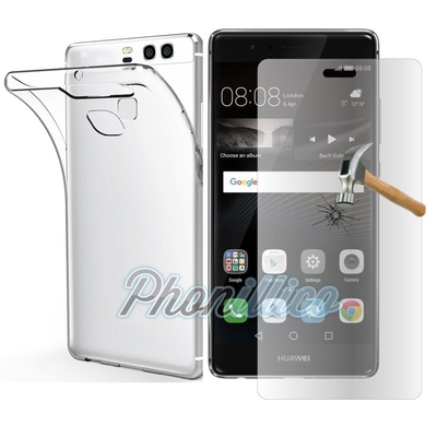 Coque Housse Etui Ultra Slim TPU Transparent + Film Protection Verre Trempe pour Huawei P9