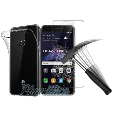 Coque Housse Etui Ultra Slim TPU Transparent + Film Protection Verre Trempe pour Huawei P8 LITE 2017
