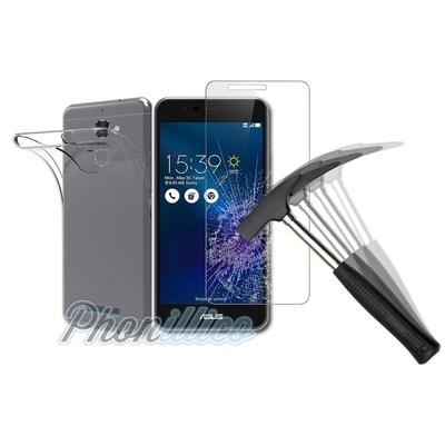 Coque Housse Etui Ultra Slim TPU Transparent + Film Protection Verre Trempe pour Asus Zenfone 3 Max ZC520TL