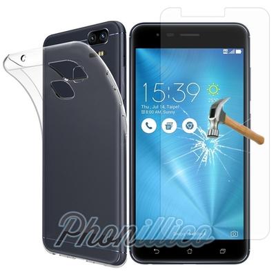 Coque Housse Etui Ultra Slim TPU Transparent + Film Protection Verre Trempe pour Asus Zenfone Zoom S ZE553KL