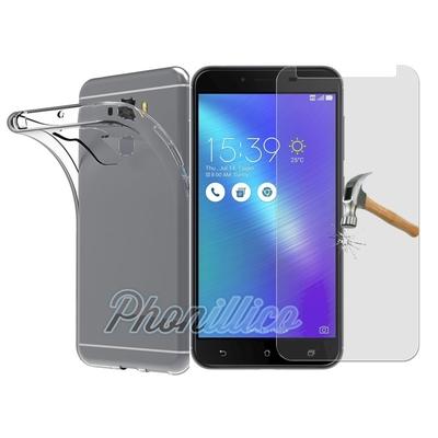 Coque Housse Etui Ultra Slim  TPU Transparent + Film Protection Verre Trempe pour Asus Zenfone 3 Max PLUS ZC553KL