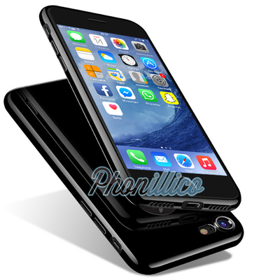 Coque Housse Etui TPU Noir de Jais Effet Piano pour Apple iPhone 8 Plus