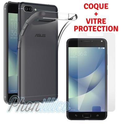 Coque Housse Etui Ultra Slim TPU Transparent + Film Protection Verre Trempe pour Asus Zenfone 4 MAX PLUS / PRO ZC554KL